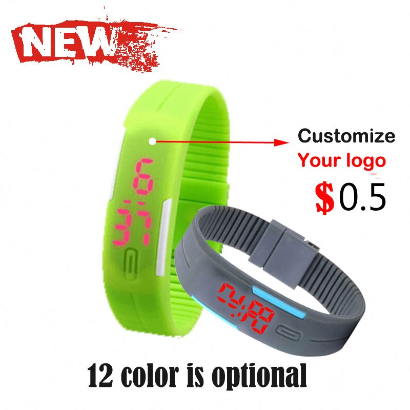 custom cheap brand your own logo fancy flashing digital watch led watch