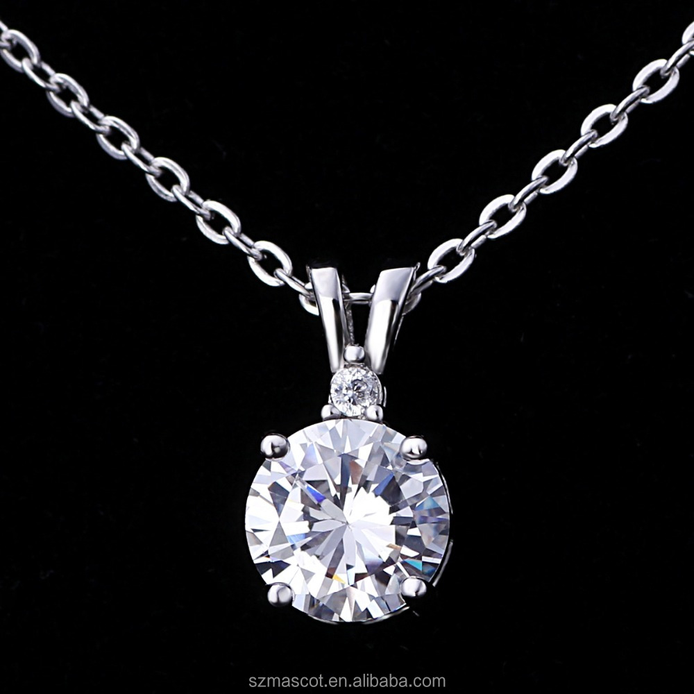 925 Sterling <strong>Silver</strong> Round Cut Cubic Zirconia CZ Solitaire Pendant Necklace