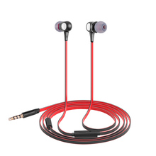 1.2M Long Wired 3.5mm Jack Stereo Metal Earphones Flat Cable Sports Headset With HD Mic