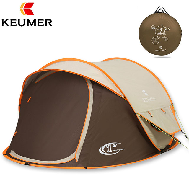 KEUMER AUTOMATIC OUTDOOR DOUBLE LAYERS CAMPING TENT FOR 3-4 PERSONS,RAINPROOF/UV PROTECT/POP UP