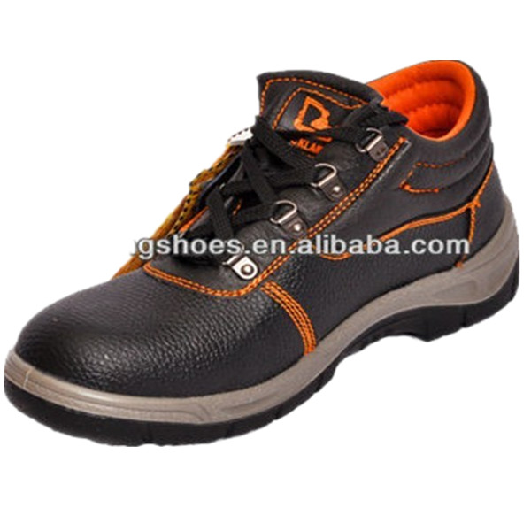 black pu leather rubber outsole iron toe cheap best selling construction safety shoes wholesale in China for middle east market
