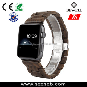 Bewell Wood Watch Band With Connector Adapter For Smart watch