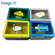 Cookies Bread Food Rectangle Tin Canister With Transparent Window