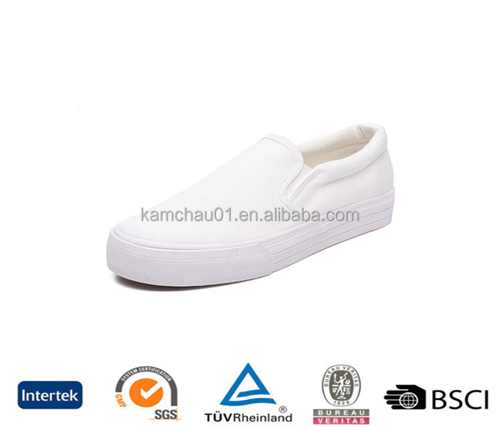 trade assurance spring style cheap no brand plain womens white cut out slip on platform sneakers shoes