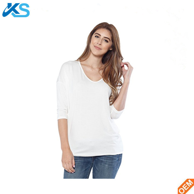 Women's Casual Tshirt 95%Rayon 5%Spandex V-Neck Tee Shirt W Dolman Sleeve Tshirt White Tunic Blouse Top Women T-shirt