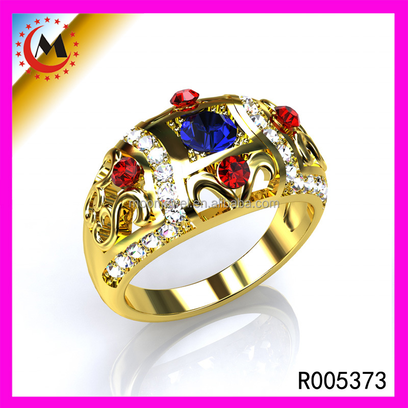 Wholesale Jewellery Ruby Stone Blue Diamonds Paved 24K Gold Plated Woman Ring Adjustable