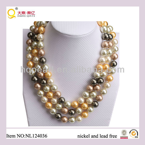 2013 new product fashion costume jewelery 3- row mother of pearl necklace shell beads necklace in China alibaba