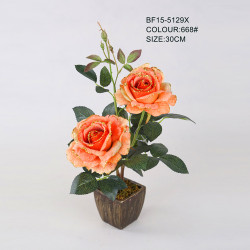 Golden edge rose silk flower for Christmas party decoration