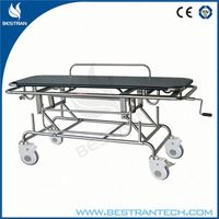 China BT-TR014 hospital manual patient transfer stretcher cart, transport trolley funeral stretcher