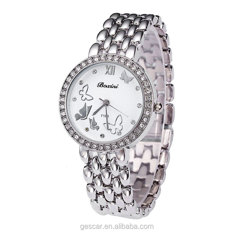 boxini 7103 designer butterfly dial bling crystal lady bracelet wrist watches wholesale clock