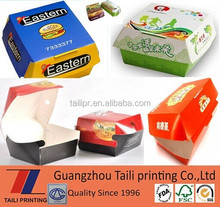New design unique paper burger box packaging/creative paper packaging dinner box/food packaging lunch box with hamburger box