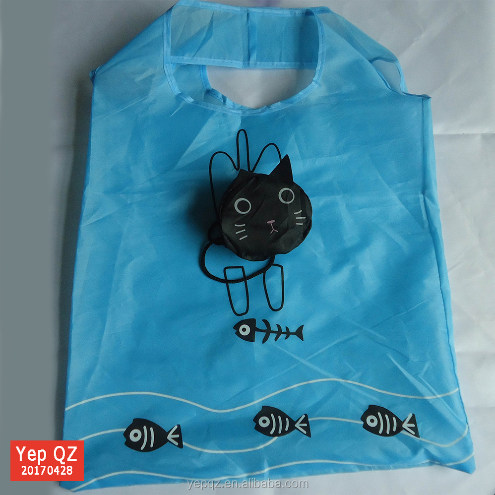 Portable 190T polyester promotional wholesale tote foldable Cat Reusable Shopping Bag
