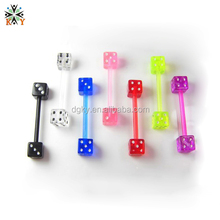 Dice Acrylic Antiallergic Fashion Tongue Barbell