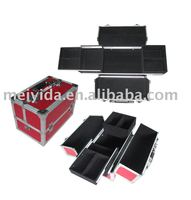 Red PU Aluminium cosmetic case with shoulder band