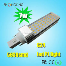 CE RoHS 7w PL LED Bulb G24 High Power 2835SMD LED 4000K Clear PC Cover