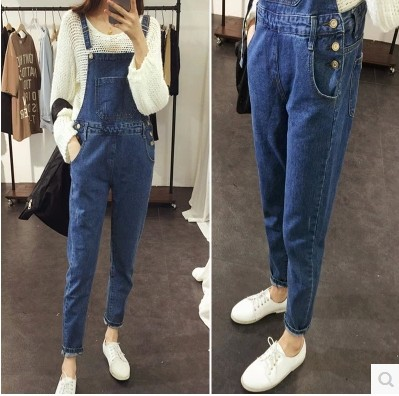 European Latest Fashion Detachable Women Denim Overalls
