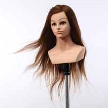 Factory direct price femal hairdressing gold 26 inch human hair mannequin training head with shoulders