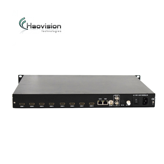 Coax Cable hotel tv system solution 8x hd mi to rf modulator h 264 video encoder hardware over 4 dvb-t RF 1RU rack mountable