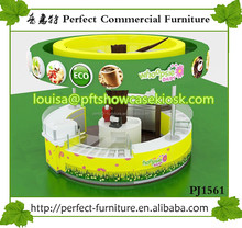 Retail juice shop interior design, juice bar kiosk and fresh juice counter for sale