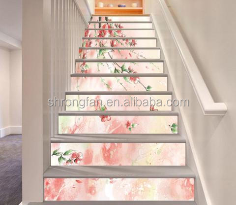Factory Price Custom Full Color Printing Interiors Decoration Flowers Stair Murals