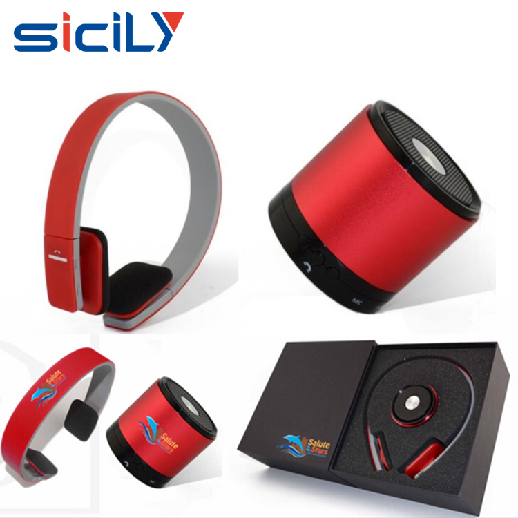 Vip gift ideas business gift set with bluetooth headphone and speaker,Factory Manufacturer Red Corporate Gift Set for Christmas