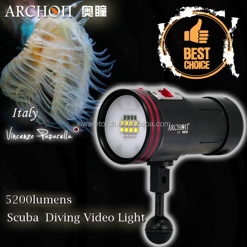 High Quality W42VR 5200lumen 4 color <strong>diving</strong> video <strong>light</strong>, <strong>led</strong> <strong>diving</strong> torch <strong>light</strong> CE