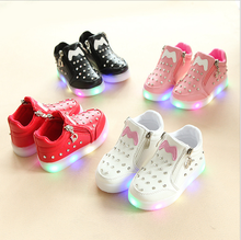 Rhinestone Children Sneakers LED Lighting Casual Running Shoes LED Shoes