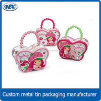 Handbag shaped cosmetic tin box,candy gift tins for girl,tin metal elegant case with handle
