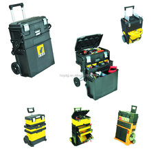4-In-1 Mobile Work Station Plastic Moving Tool Cart Tool Box Chest Tool Trolley