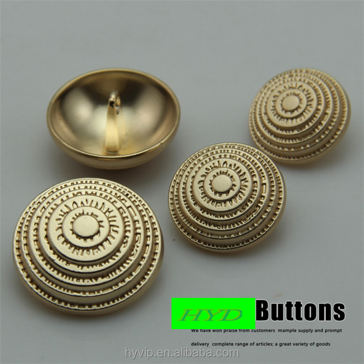 HYD Matte Gold Metal Brass Button Monopoly Wholesale High Quality Roman Wind Pure Metal Suit Coat Button 18-23mm Button