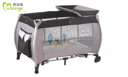 hot selling baby crib with changing station/baby rocking crib with sencond layer/waterproof bed