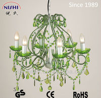 23year factory -crystal chandeliers made in china in green olor( NS-120034G)