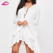 Summer dress for fat woman high quality beach dress plus size white cheesecloth tie front dress