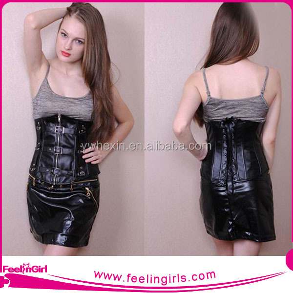 Fashionable Sexy Women Underbust Black Leather Corset Tight