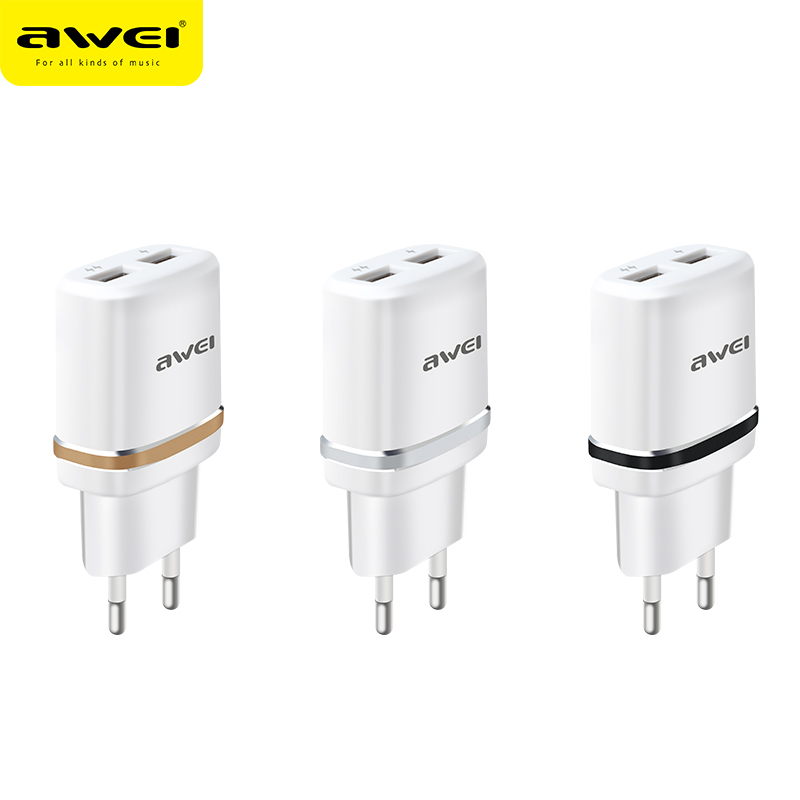 Awei C-930BL Professional High Quality Cheap Qc3.0 Dual Usb Wall Charger Oem Factory