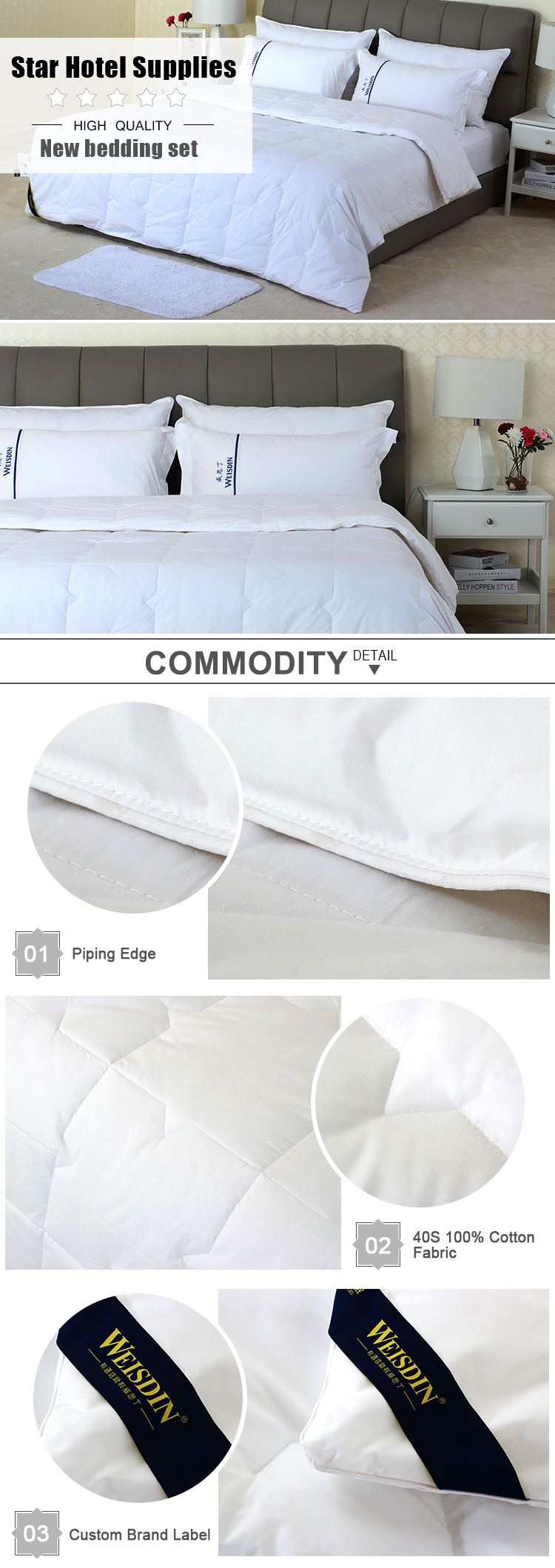 Luxury goose down feather alternative comforter super soft 40S 100% cotton fabric king size bed hotel quilt