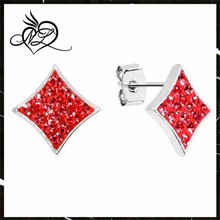 Red Crystal Ferido Diamond Shape Stud Earrings