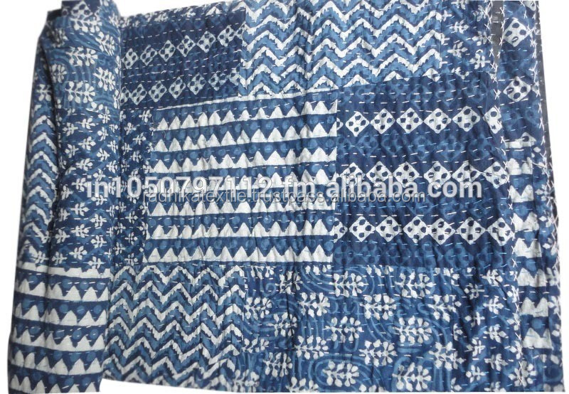 RTKQC -7 Blue Indigo Patchwork wholesale indian kantha quilts / Bed covers kantha quilt wholesale kantha throw From India Jaipur