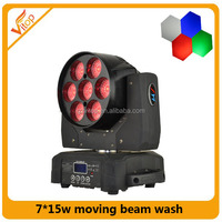 Quad Color 7x15w Moving Head+wash+zoom 3 In I Led Dj Light