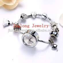 Popular Ladies Beaded Bracelet Watch 2017 hot sale watch with charm