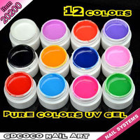 #20200H Wholesale UV Gel Nails Kit Pure Color UV Gel 12 Colors Soak Off UV The Printer