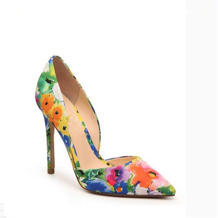 European style fashion ladies floral high <strong>heel</strong> pointed toe party dress wedding casual pumps shoes 2018