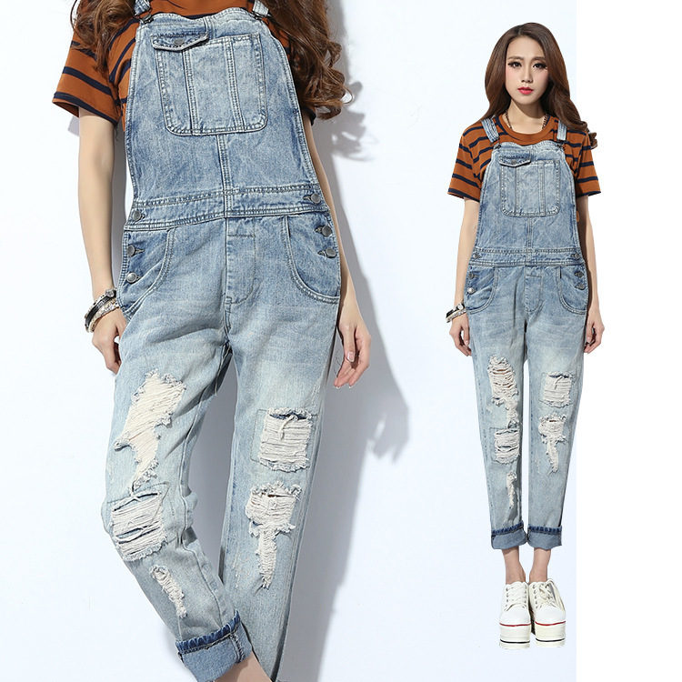 f4a7d80d8d1f Get Quotations · Special Offer 2014 Woman Macacao Feminino Denim Ripped Overalls  Womens Capris Light Blue Rompers 26