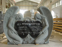 china absolute black granite angel headstone monuments