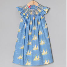 Blue & Yellow Sailboat baby Smocked Thanksgiving Dresses
