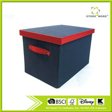 Folding Blue Storage Trunk With Red Trim And Carry Handles