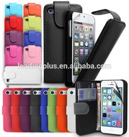 new flip top open leather portfolio case for iphone 5