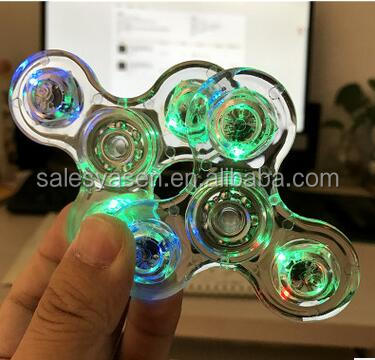 LED Fidget Spinner Transparent Lantern Crystal Hand spinner Fingertip Gyro Lluminous finger Decompression toy With Switch EDC