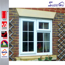 Latest modern design french with top fixed panel casement window