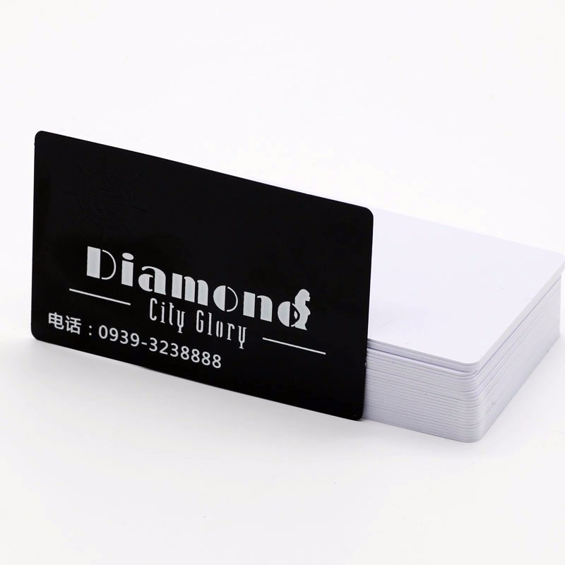 CR80 Size hot stamping black background metal business cards